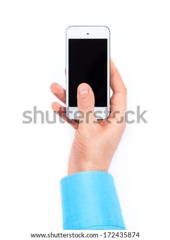 Businessman's hand using smartphone on white background - stock photo