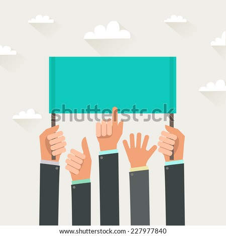 Businessman's hands, gestures. A lot of hands holding a placard. Colorful illustration in flat style - stock photo