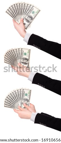 Businessman's hands with dollars isolated on a white background - stock photo