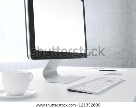 Businessman's place of work with with computer monitor cup of coffee keyboard and smartphone on white table - stock photo