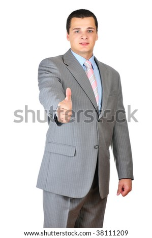 Businessman's thumb up isolated on white background