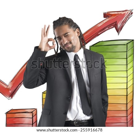 Businessman satisfied and happy for financial profits - stock photo