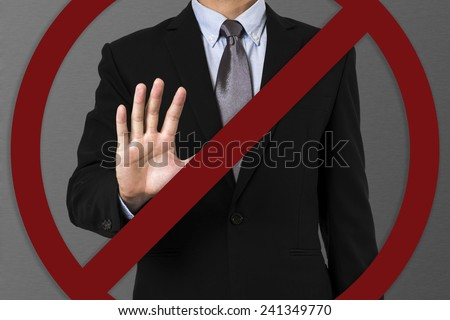 businessman say no to corruption. - stock photo