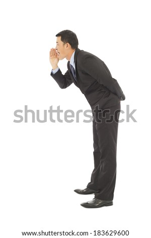 businessman say, talking, whisper,hold hand near open mouth - stock photo