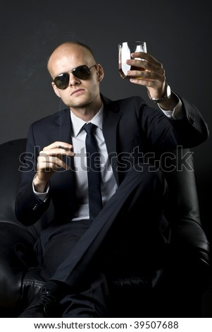 businessman saying cheers smoking and drinking