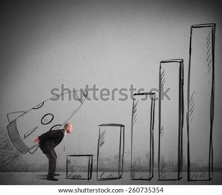 Businessman scale statistics launching with a spaceship - stock photo
