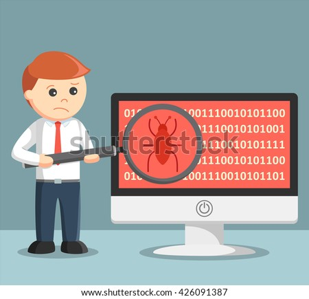 Businessman scanning malware on his computer