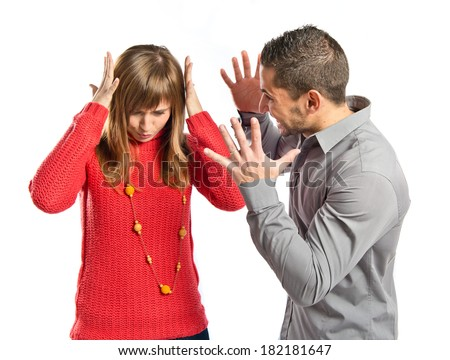 Businessman screaming at his girlfriend over white background
