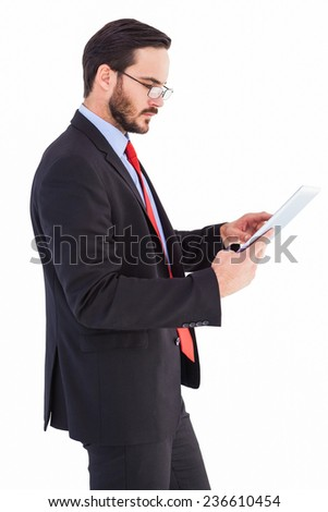 Businessman scrolling on his digital tablet on white background