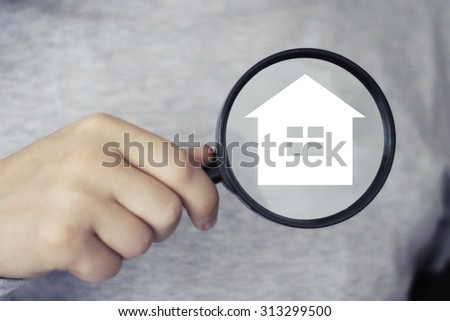 Businessman search loupe magnifier home button