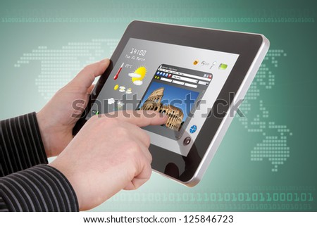businessman searching a tourism information on pad