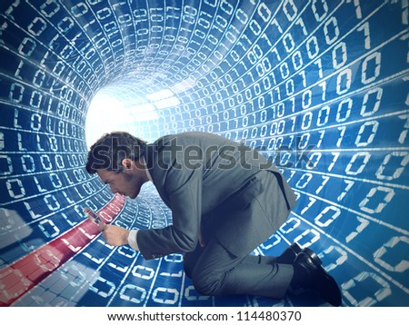 Businessman searching virus in a internet cable - stock photo