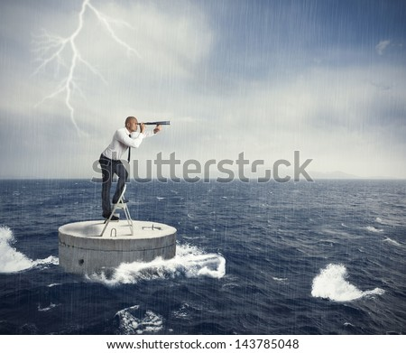 Businessman seek a solution to the crisis - stock photo