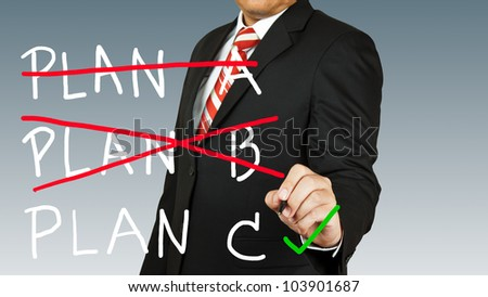 businessman select a plan