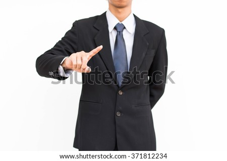 Businessman select Choice white background..