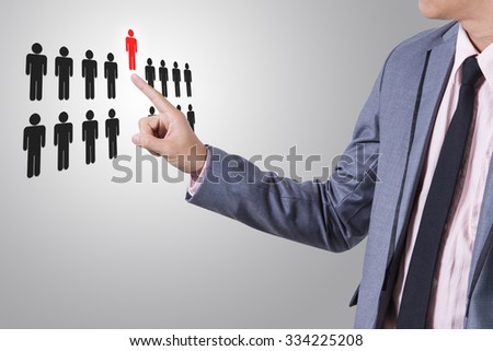 Businessman select person career to work job business concept. - stock photo