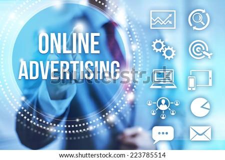 Businessman selecting online internet advertising - stock photo