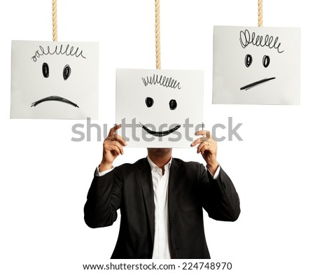 Businessman selects the right positive expression - stock photo