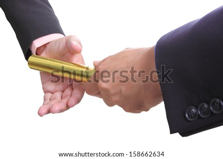 businessman send golden boton to another one - stock photo
