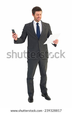 Businessman sending text holding page on white background