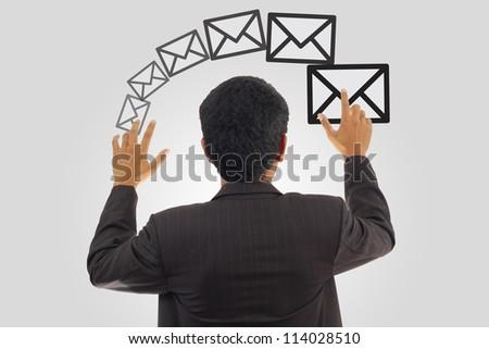 Businessman Sending Visual E-mail - stock photo