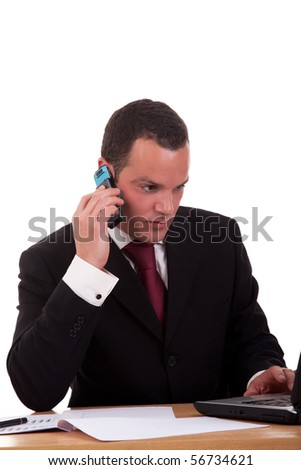 businessman setting a desk talking on the phone, isolated on white background. Studio shot. - stock photo