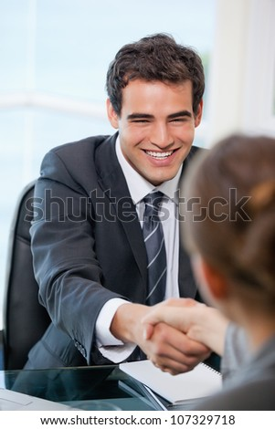 Businessman shaking hands with a client while smiling in an office - stock photo