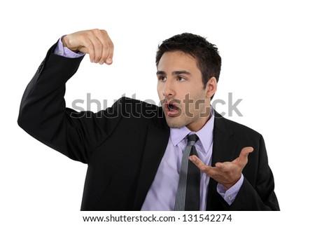 businessman shocked and speechless - stock photo