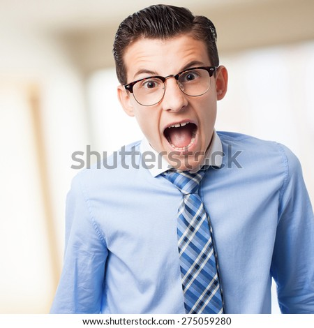 businessman shouting - stock photo