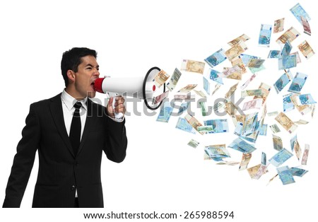 Businessman shouting into a bullhorn to the side with money coming out. Money talks. - stock photo