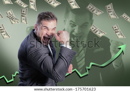 businessman shouts of joy, and from the top dropped money