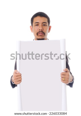 Businessman show blank paper, isolated on the white background. - stock photo