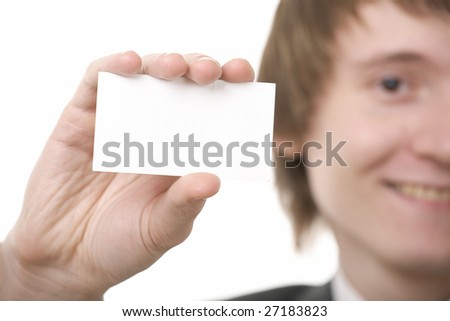 businessman show business card on white background