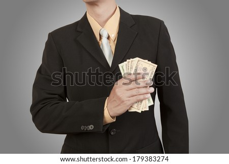 Businessman show cash in dollar isolated on white background