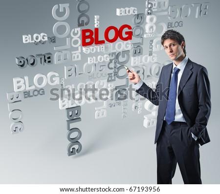 businessman show 3d blog background - stock photo