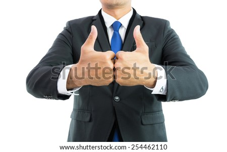 Businessman show hand with thumb up isolate on over white background - stock photo