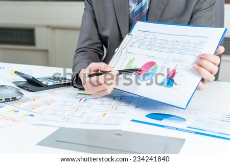 Businessman show report, business performance concept
