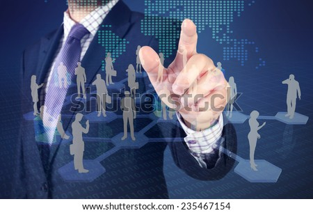 businessman show virtual people connection on world map.  - stock photo