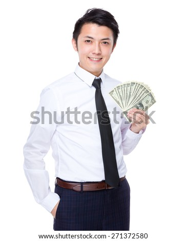 Businessman show with banknote - stock photo