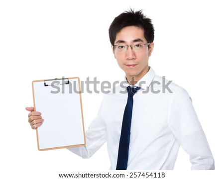 Businessman show with clipboard