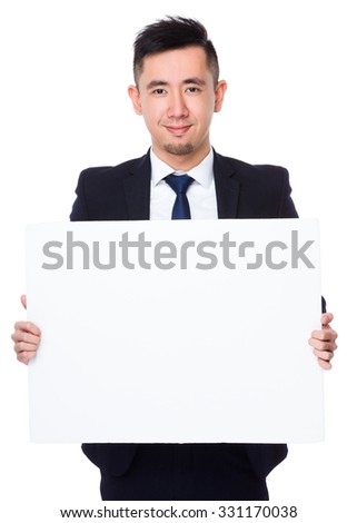 Businessman show with the white banner