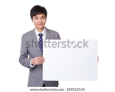 Businessman show with white banner