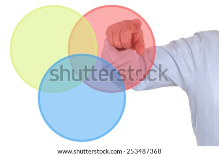 Businessman showing a business concept diagram chart - stock photo