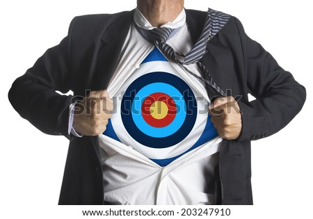Businessman showing a target under his shirt, isolated on white background - stock photo