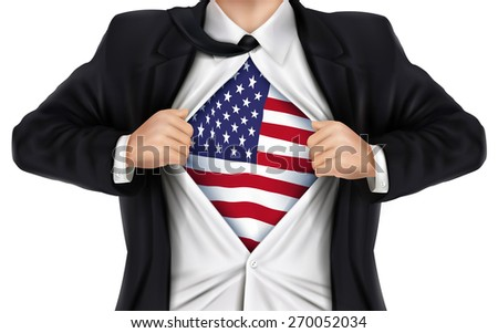 businessman showing American flag underneath his shirt over white background - stock photo