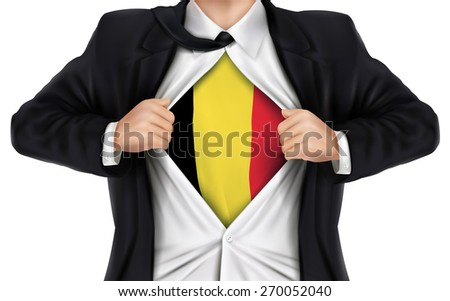 businessman showing Belgium flag underneath his shirt over white background - stock photo