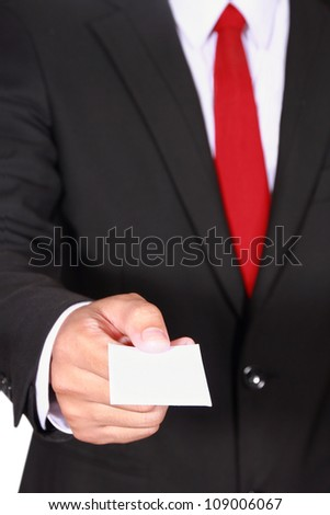 businessman showing blank business card on white background
