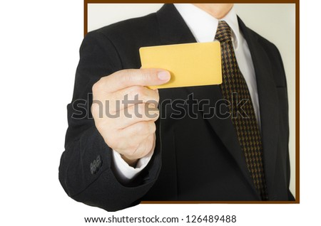 Businessman showing  blank credit card ,isolated on white background - stock photo