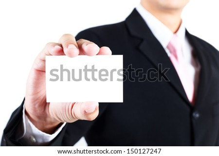 Businessman showing blank namecard