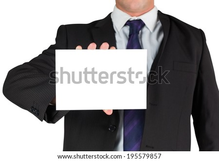 Businessman showing blank white card on white background